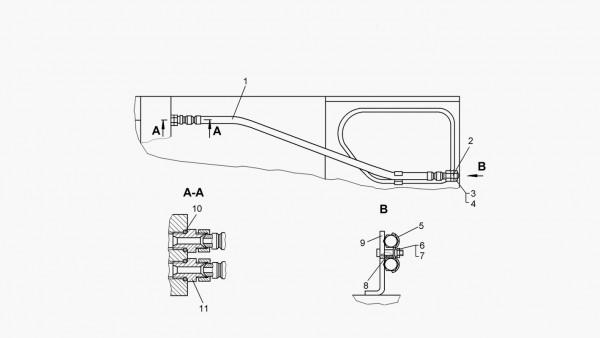 Установка рукавов управления рыхлительным оборудованием (для трактора с механической трансмиссией)