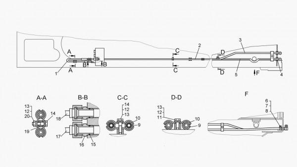 Установка трубопроводов перекоса отвала (для тракторов с механической трансмиссией)