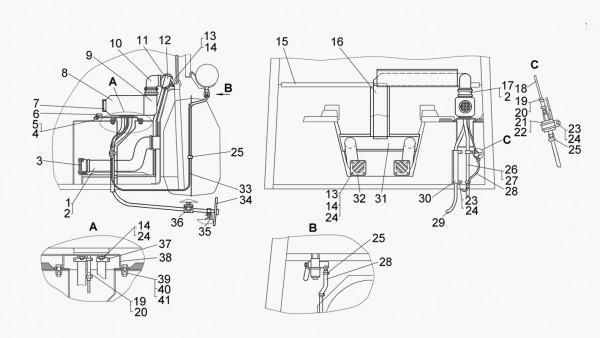 Установка отопителя «AIRTRONIC D4» (для трактора с гидромеханической трансмиссией)