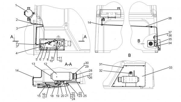 Установка отопителя «AIRTRONIC D4» (для трактора с механической трансмиссией)